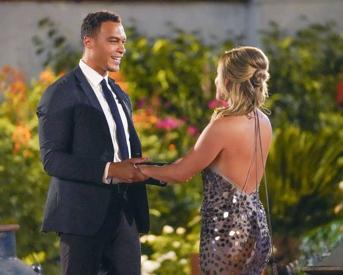 Dale Moss from The Bachelorette greeting Clare