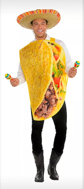 Dale Moss in a Party City taco costume, complete with sombrero and maracas