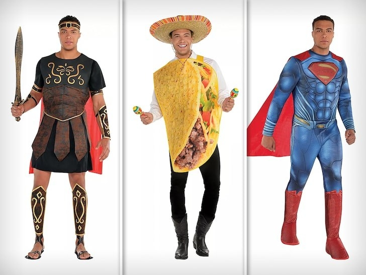 Dale Moss in gladiator, taco and Superman costumes from Party City