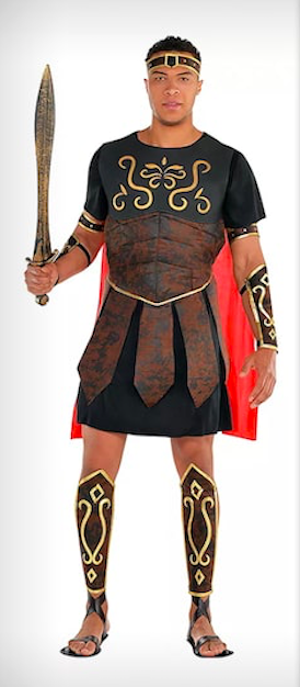 Dale Moss in a Party City gladiator costume