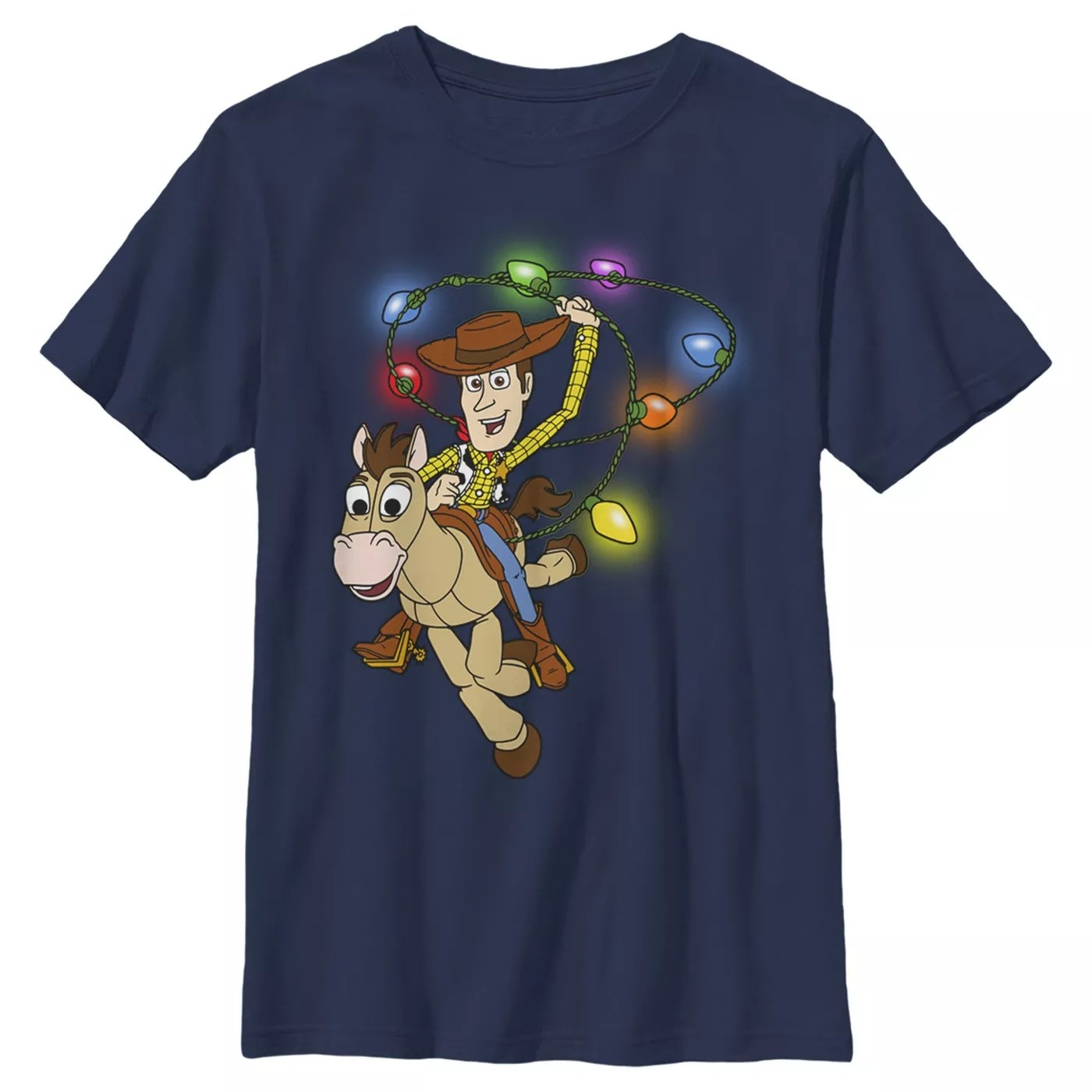 A navy T-shirt with Woody riding Bullseye and spinning a lasso of Christmas lights