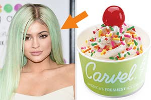 Kylie Jenner with green hair on the left and vanilla ice cream with a cherry on top on the right