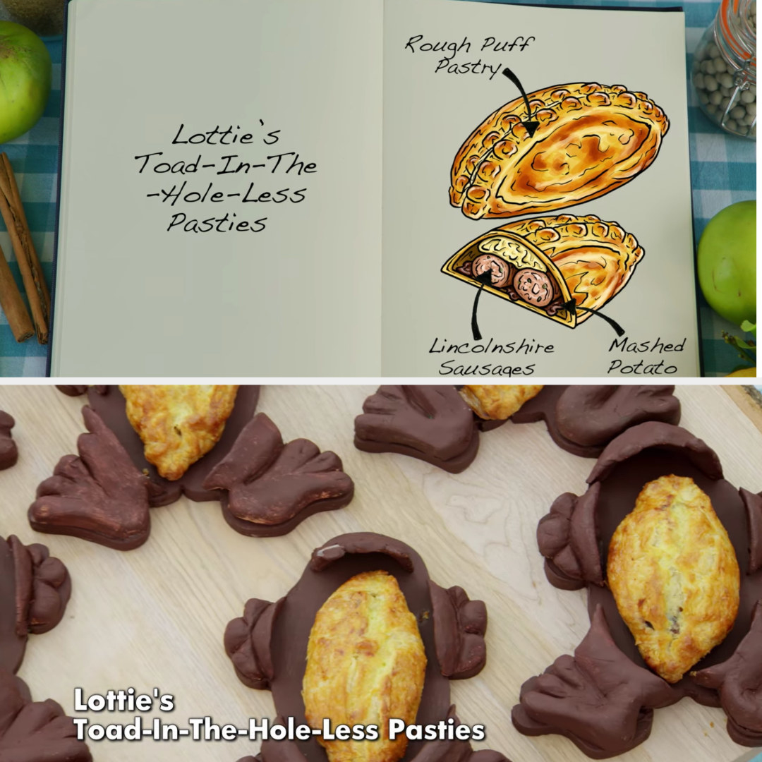Lottie's pasties filled with lincolnshire sausages and mashed potato side by side with their drawing