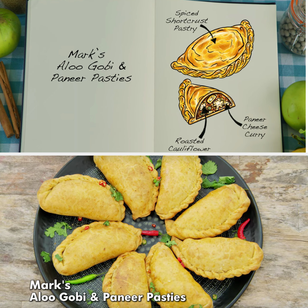 Mark's pasties filled with roasted cauliflower and paneer cheese curry side by side with their drawing