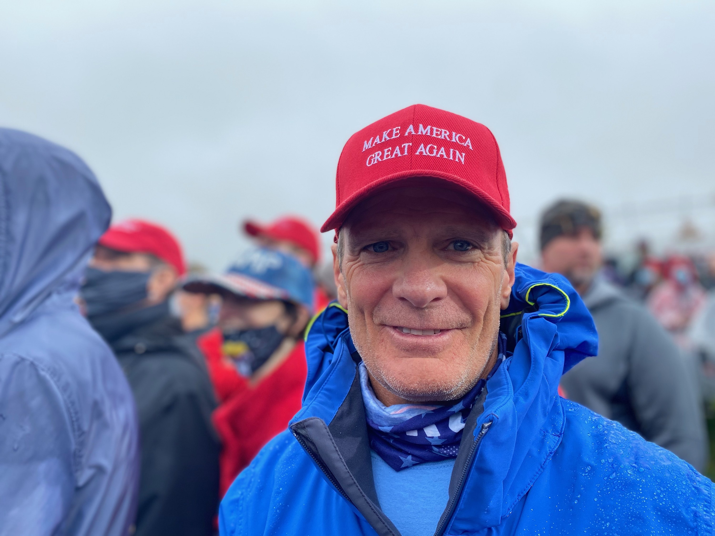 An attendee wearing a Make America Great Again cap at a Pennsylvania Trump rally