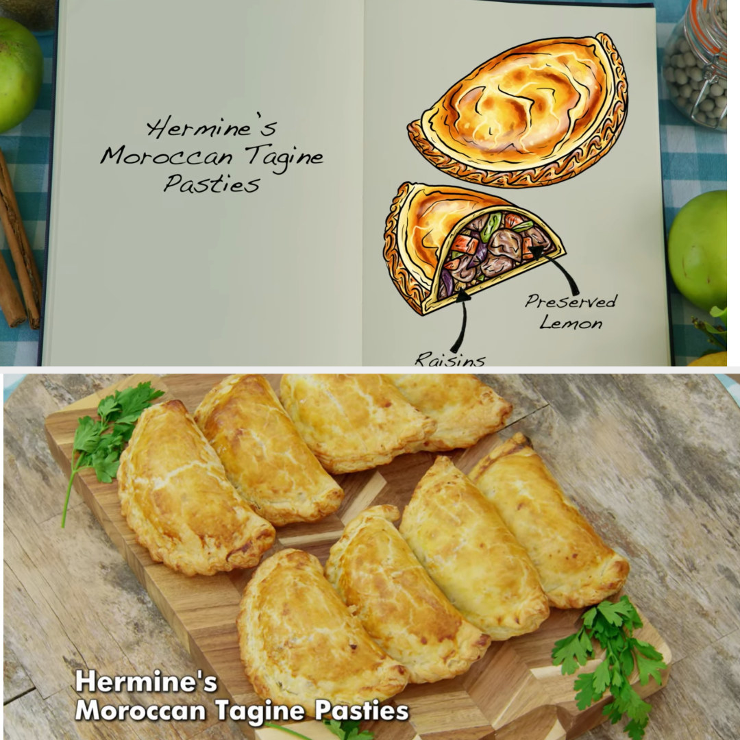 Hermines pasties filled with preserved lemon and Raisins side by side with their drawing