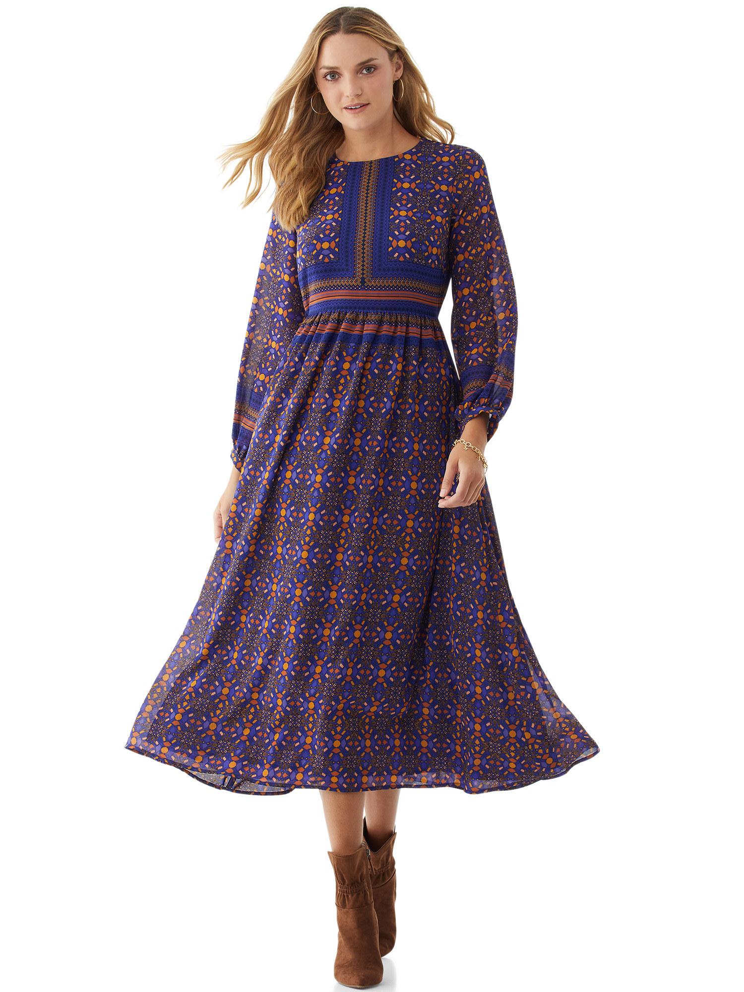 Model wearing printed maxi dress