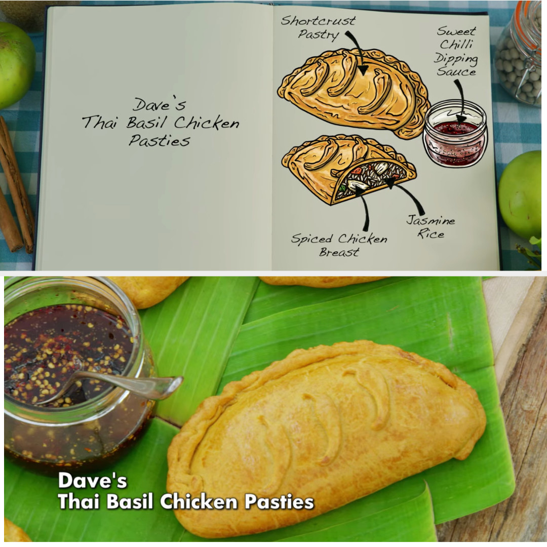Dave's pasties filled with spiced chicken breast and Jasmine Rice side by side with their drawing