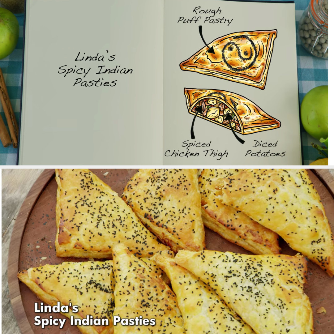 Linda's pasties filled with spiced chicken thigh and diced potatoes side by side with their drawing