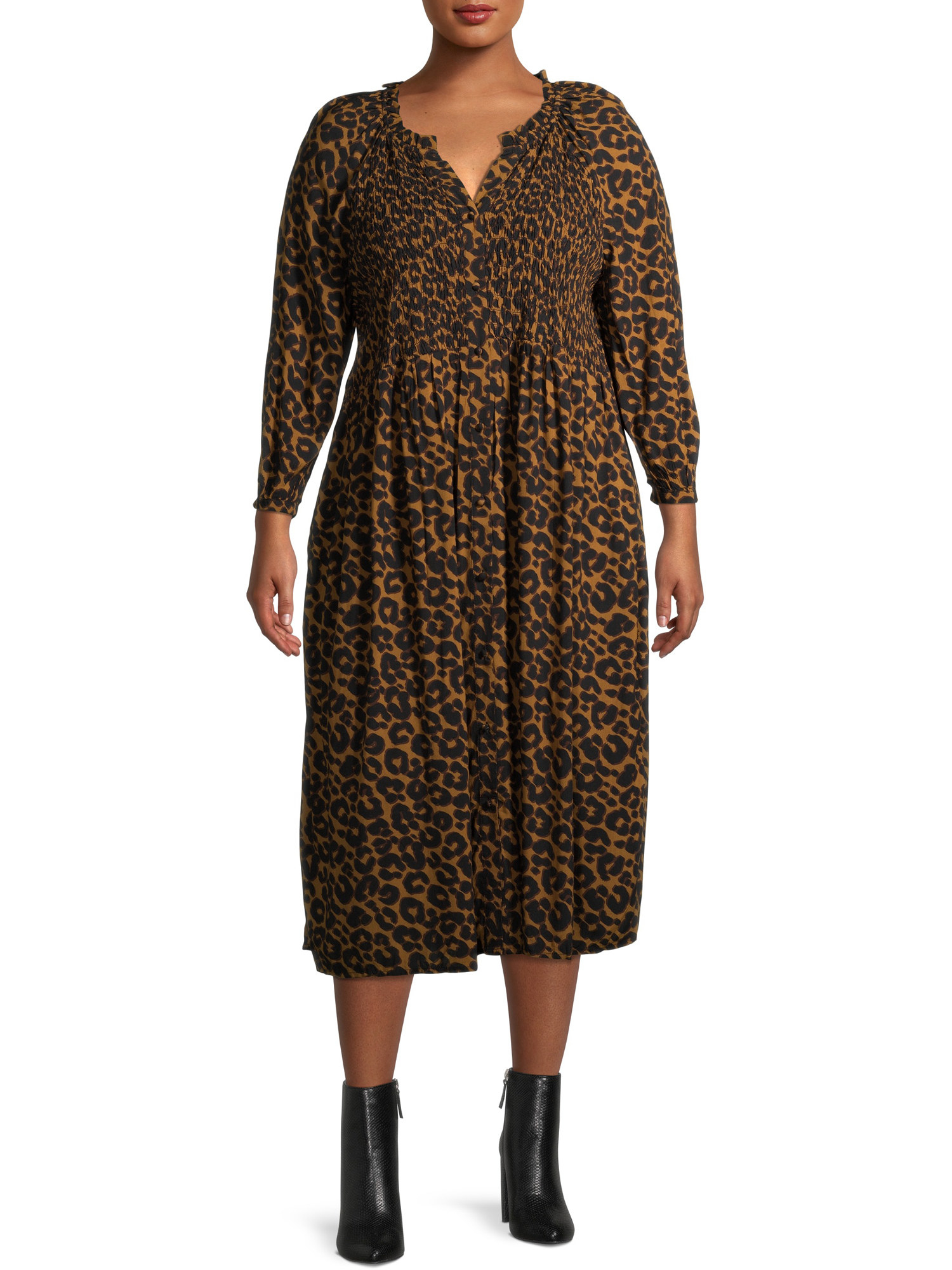 Model wearing cheetah print dress