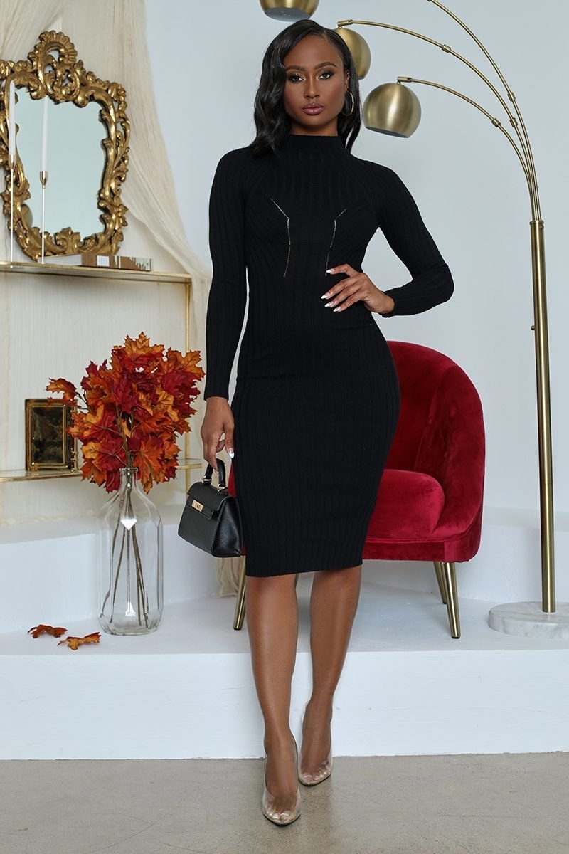 A model in the knee-length long sleeve black dress