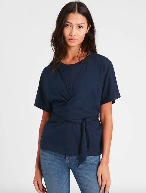 model wearing the top in black
