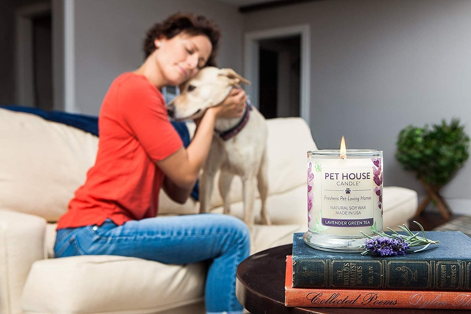 pet house candle lit in the foreground with a dog and a human cuddling in the background