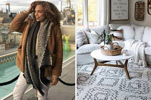 在左审稿人身上穿着棕色羊毛外套,右边是白色和黑色毛绒地毯