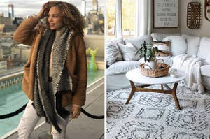 on the left reviewer wearing brown shearling coat and on right a white and black plush rug