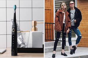 An electric toothbrush in black and two models wearing faux shearling coat one in brown and the other in black