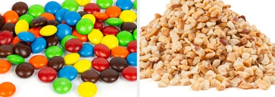 pick a topping: mnms or chopped nuts