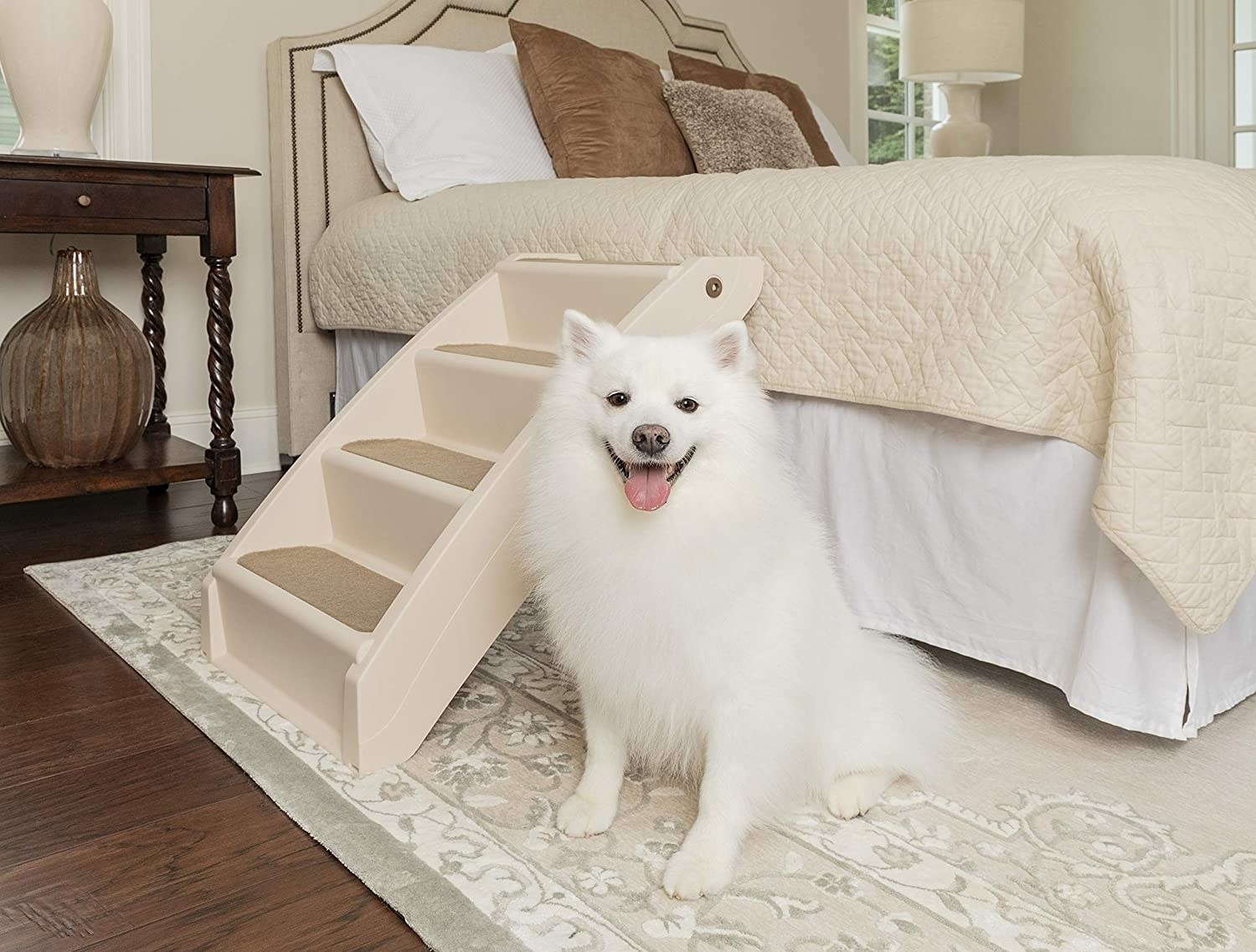 white dog standing next to dog stairs leading to the bed