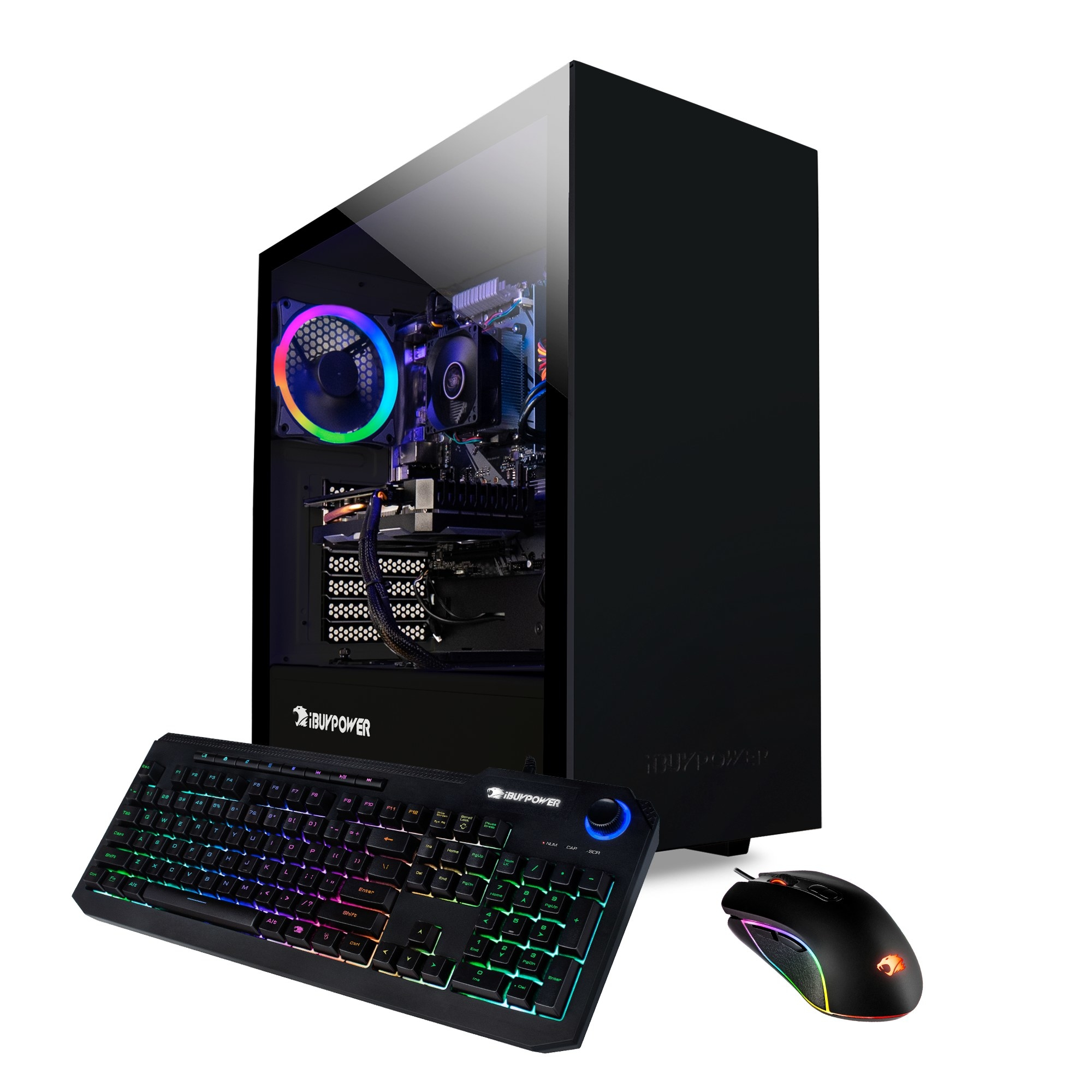 The black PC tower and keyboard with rainbow lights.