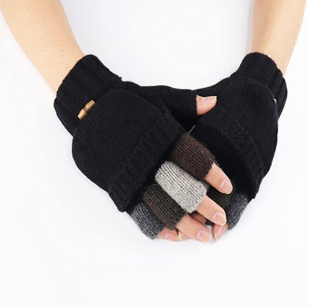 Knit half-finger gloves with mitten attachment