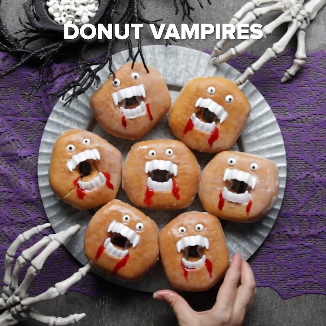 A plate of vampire donuts