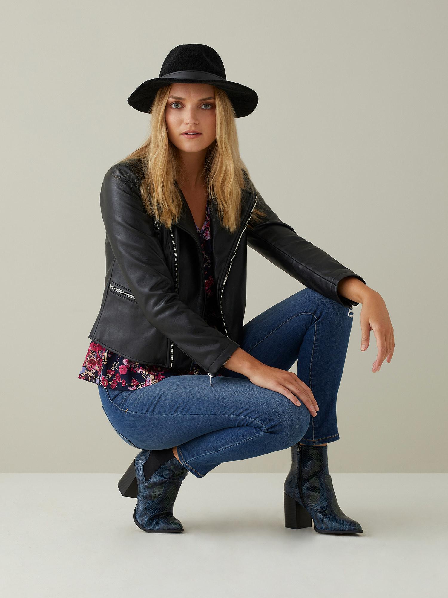 Model wearing moto jacket
