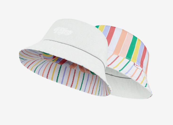 the hat with lots of colored stripes