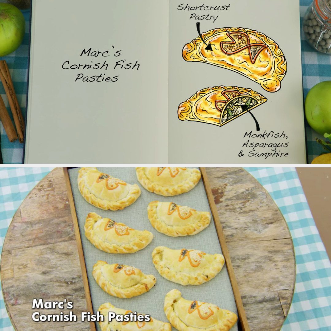 Marc's pasties filled with monkfish, asparagus, and samphire side by side with their drawing