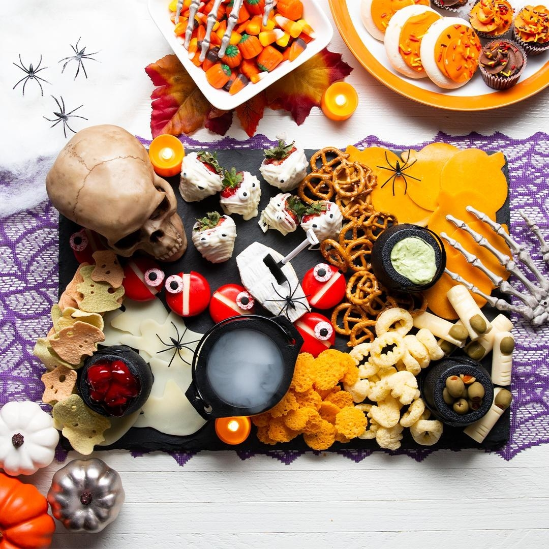A char-boo-terie board filled with Halloween treats
