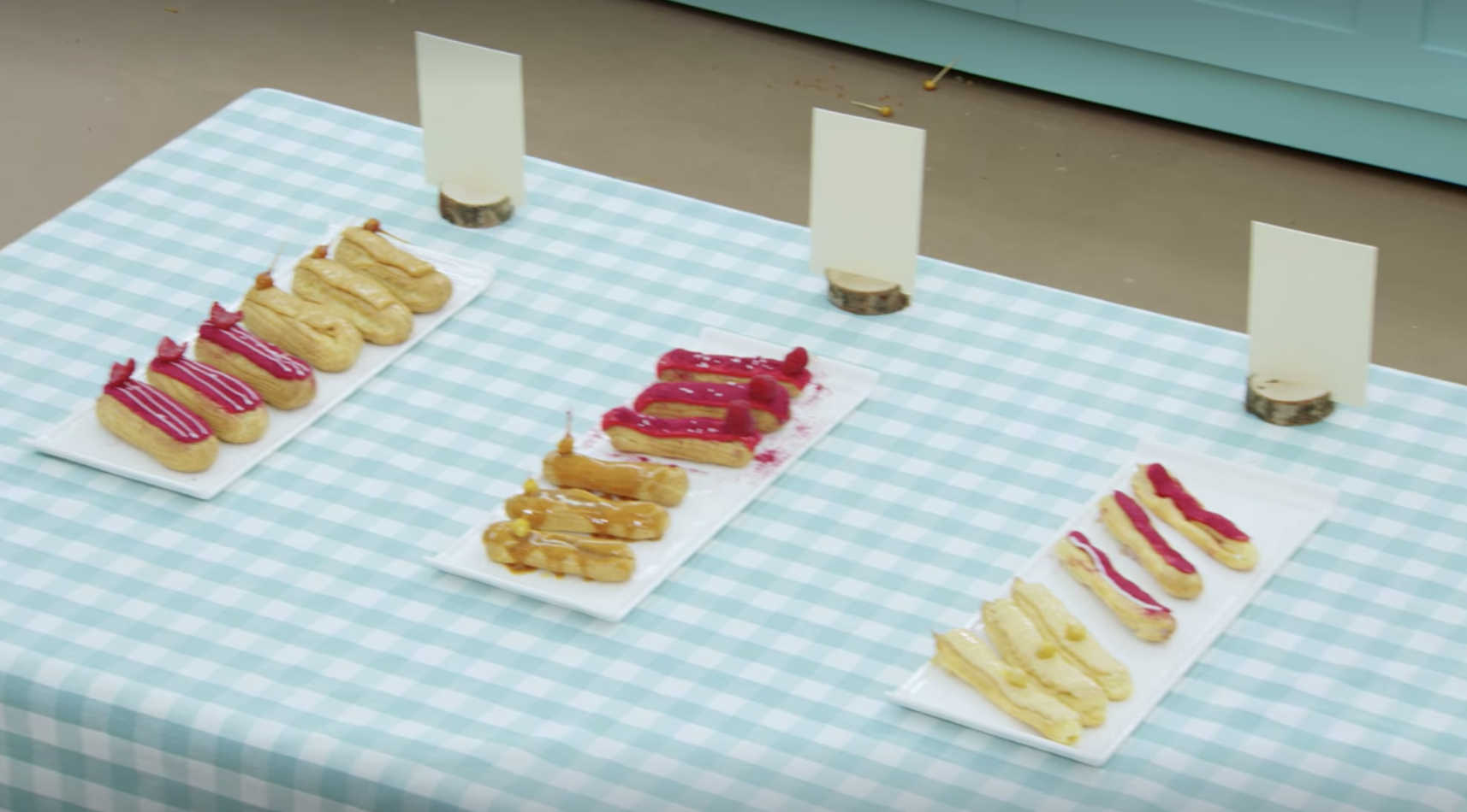 The eclairs on the table before they're judged