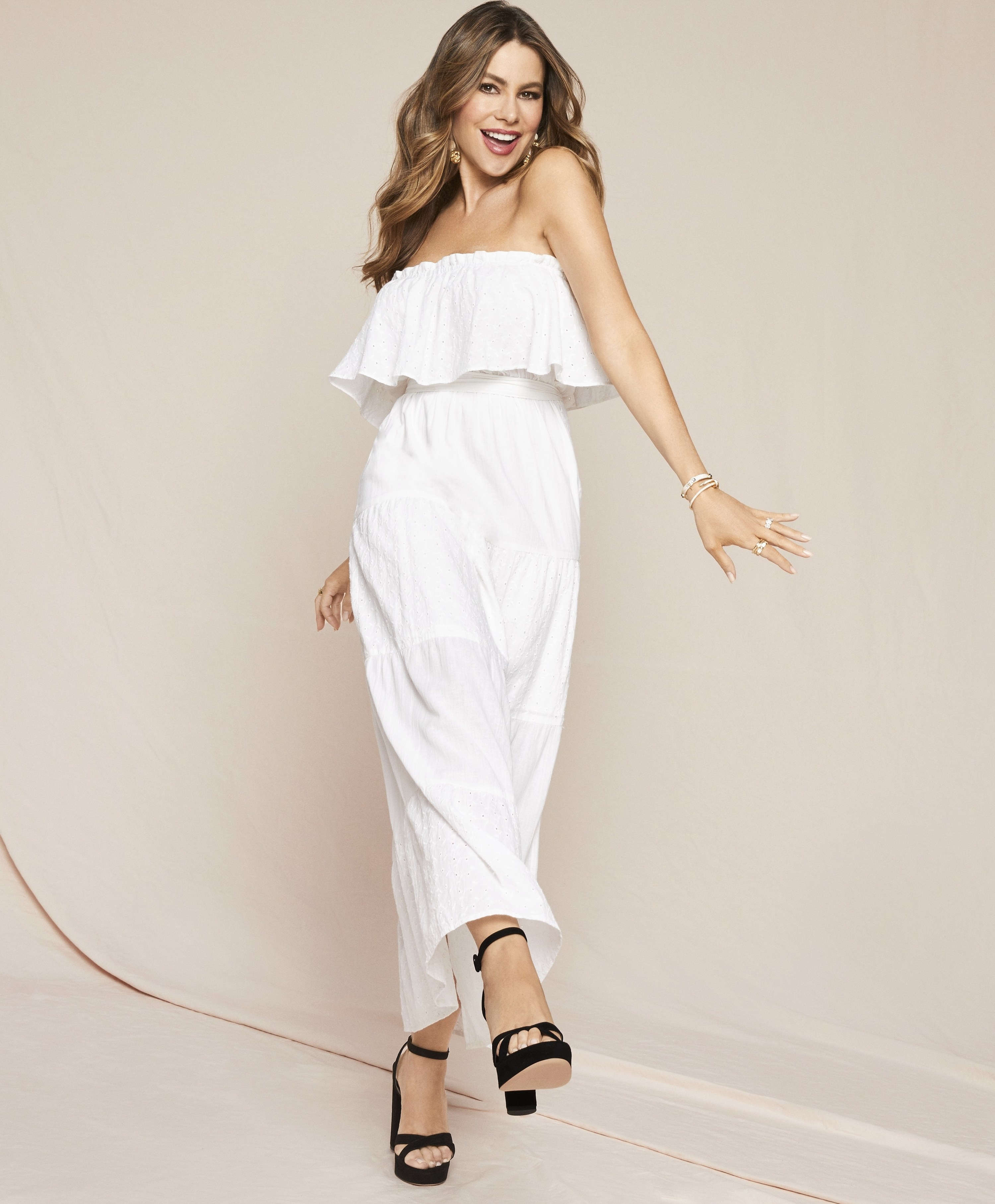 Sofia Vergara wearing white maxi dress