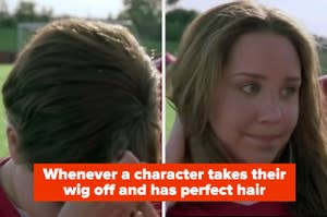 """""""Whenever a character takes their wig off and has perfect hair"""" with two stills of Viola taking off her wig in She's the Man"""