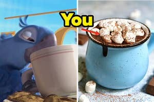 A bird is on the left drinking from a mug with a cup of hot chocolate and an arrow pointing at floating marshmallows