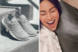 (left) Grey knit sneakers (right) Silk pillowcase