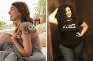 (right) Sloth heating pad (right) The future is female black t-shirt