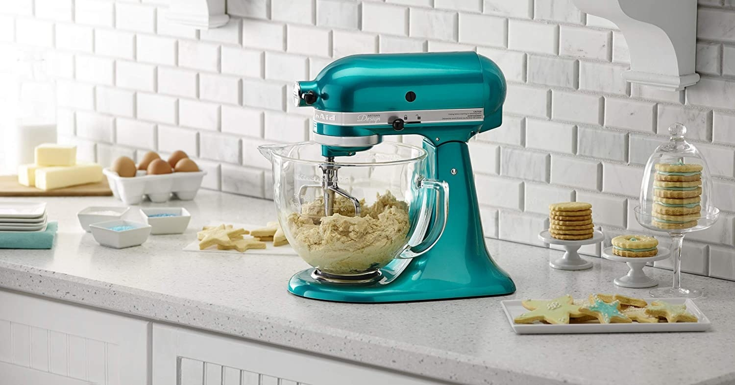 the mixer on a kitchen counter