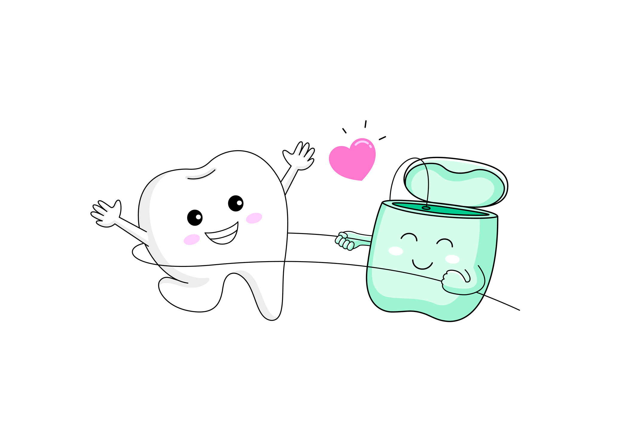 A happy tooth and floss cartoon