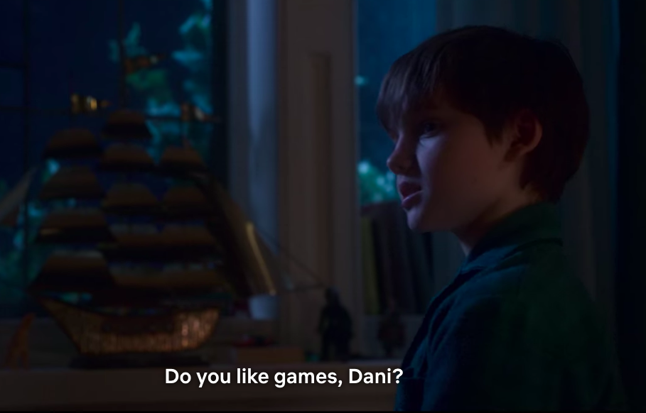 Benjamin Evan Ainsworth as Miles asking, Do you like games, Dani?