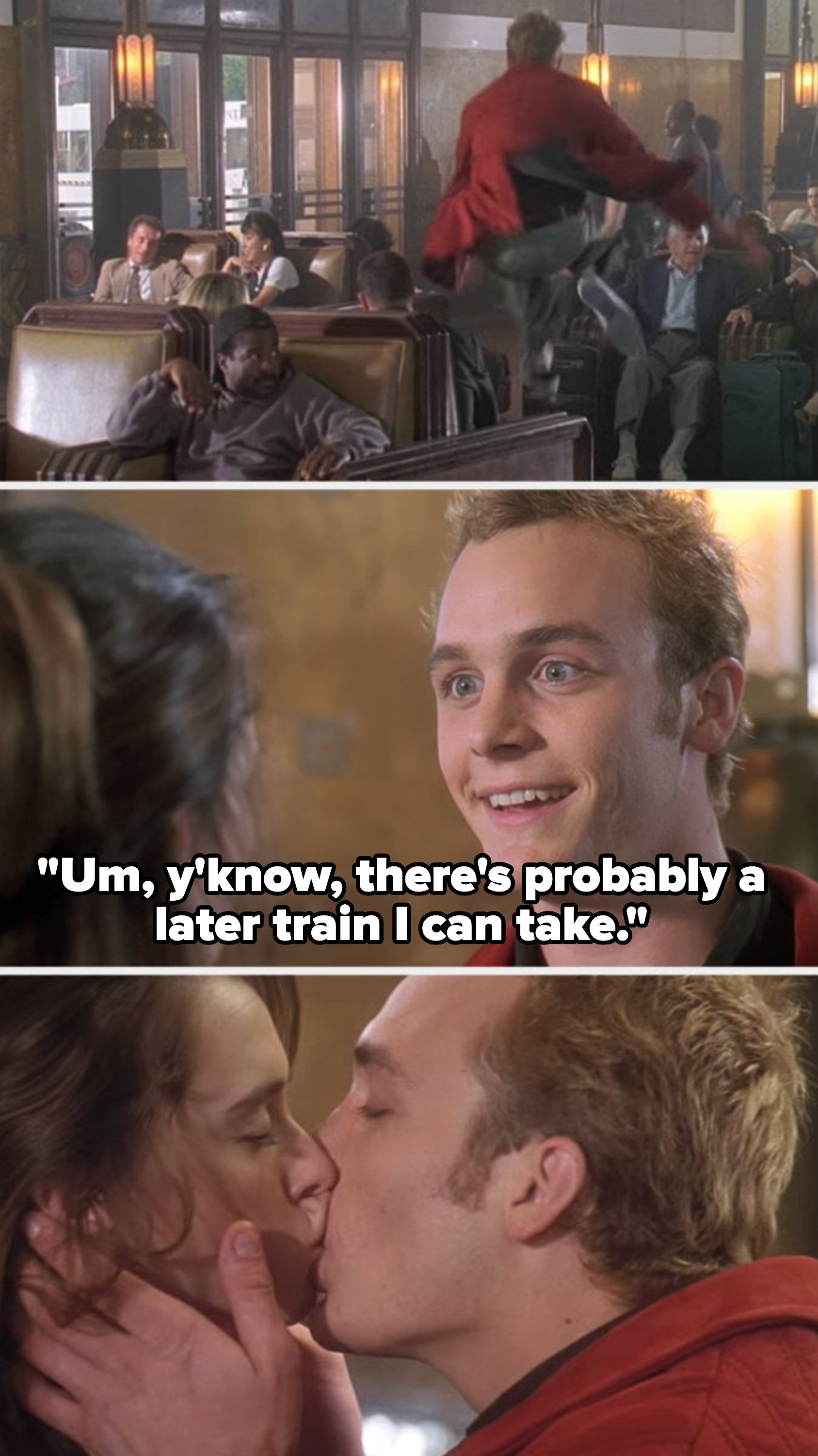 """Preston running across the train station to catch up with Amanda, telling her, """"there's probably a later train I can take"""" and kissing her"""