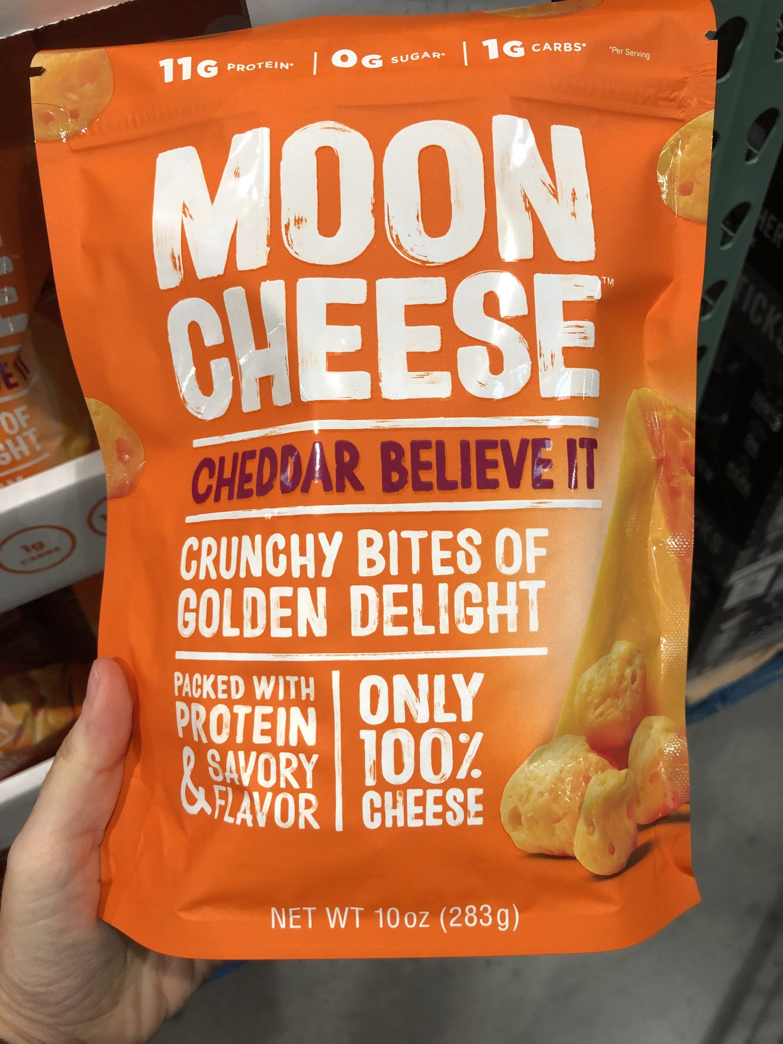 A bag of Moon Cheese