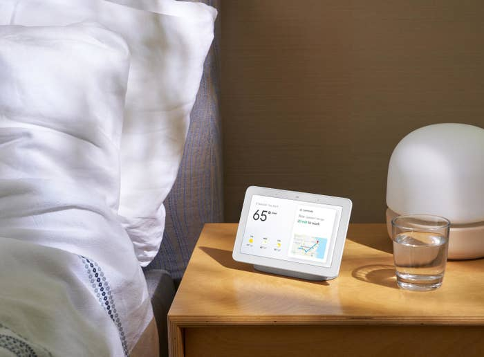 The hub on a bedside table