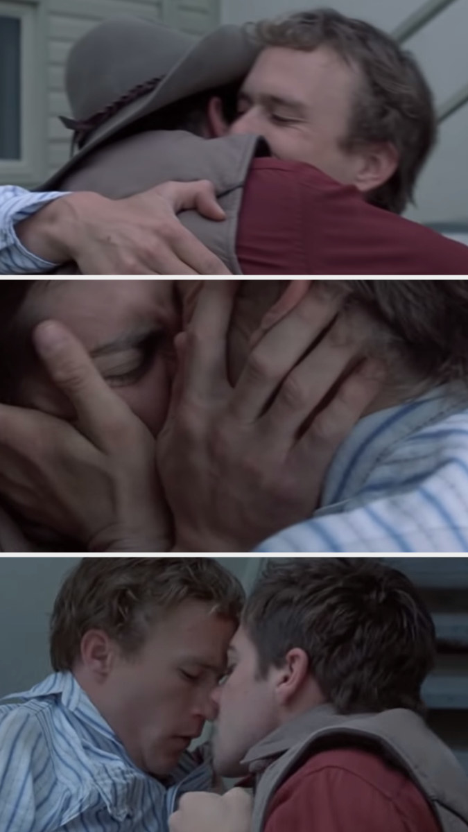Ennis and Jack hugging each other tight before smashing their faces together in a super passionate kiss
