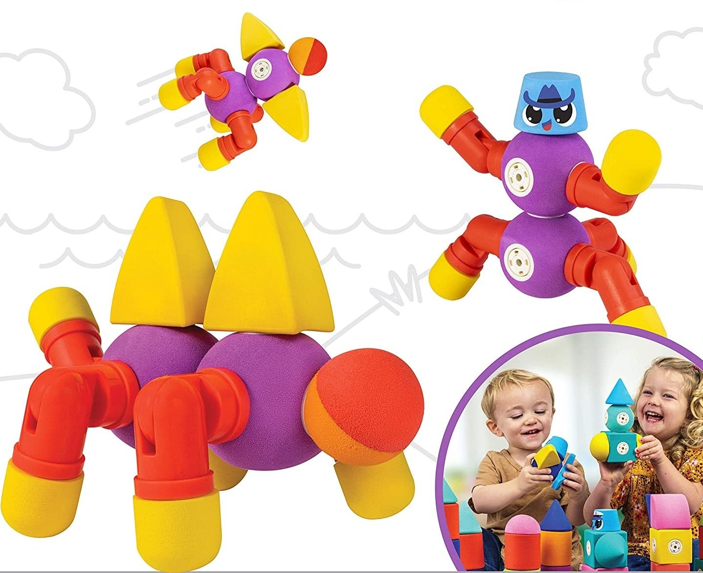 Purple, red, and yellow Blockaroo toys turned into different creatures and vehicles