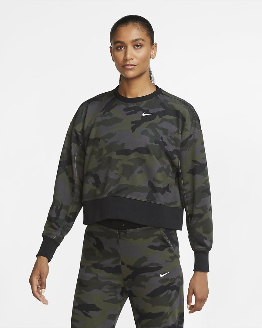 A model in the camo training crew sweatshirt