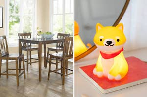 to the left: a wooden table and chairs set, to the right: a shiba una dog lamp