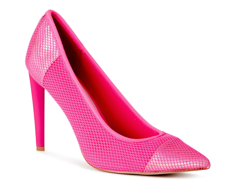 Hot pink mesh pumps