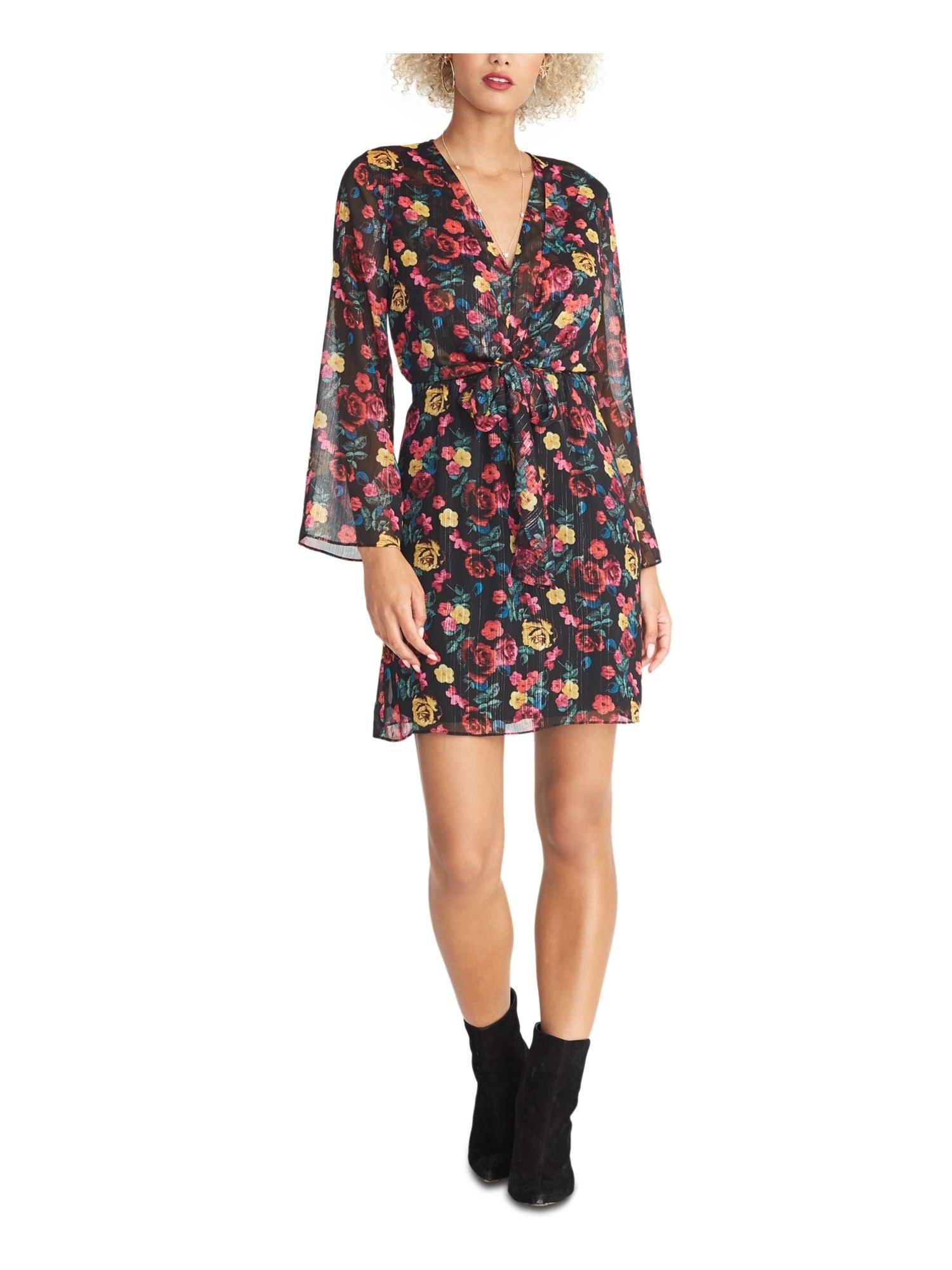 Model wearing short floral dress