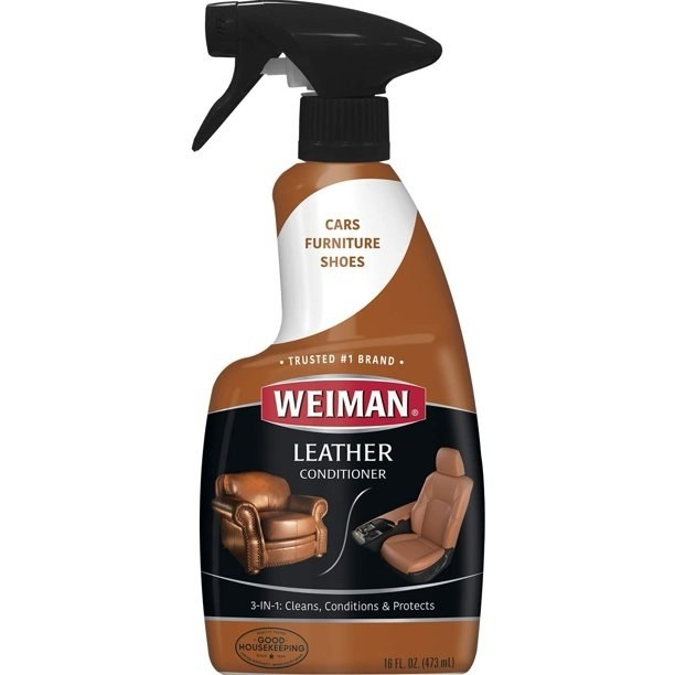 The leather conditioner, which comes in a bottle with a trigger spray