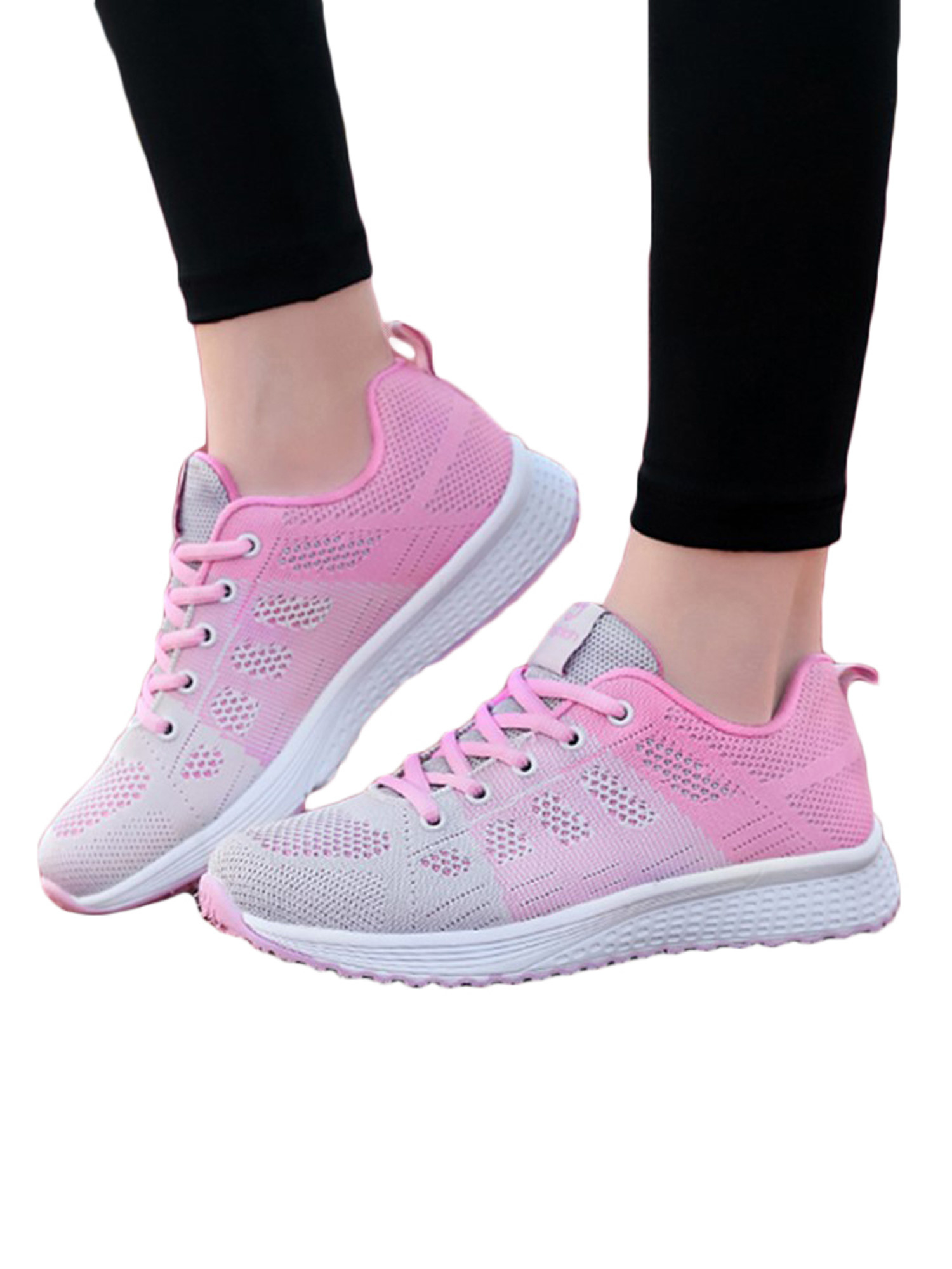 Model wearing ombre pink shoes