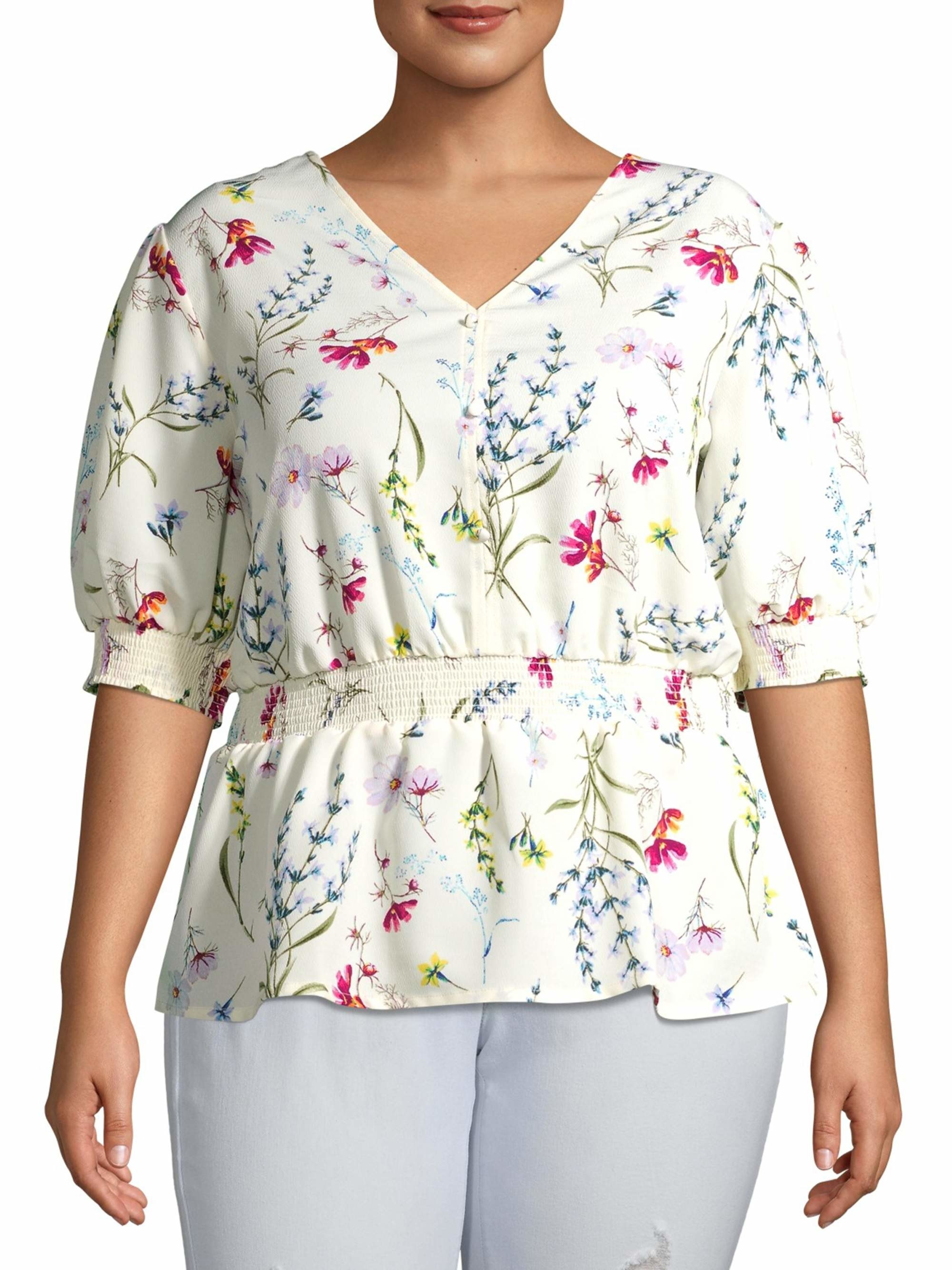 Model wearing floral blouse
